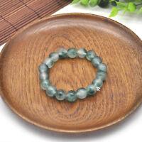 10mm 100% Natural Jade Jadeite A Grade Green Round Gemstone Beads Bracelet 7.5''