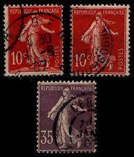 L'ANNÉE 1906, Oblitérés = Cote 18 € / Lot Timbres France 134 à 136