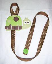 girls turtle green brown barrette bow hair accessories storage handmade