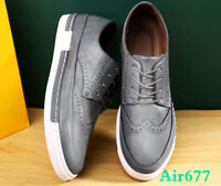 Mens lace up wing tip oxford Brogue dress PU Leather Shoes casual board shoes