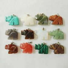 Wholesale lot 12pcs Natural Stone Mixed Carved rhinoceros charms Pendant Beads