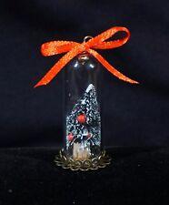 Miniature Bottle Brush Christmas Tree In Glass Cloche Charm