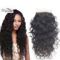 "3.5x4"" Best Brazilian Water Wave Top Lace Closure Virgin Remy Human Hair Closure"