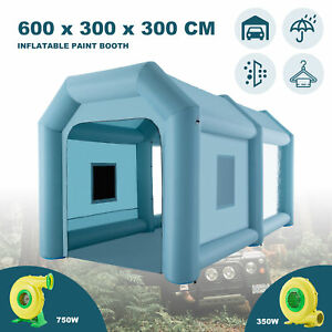 6X3X3m Inflatable Spray Booth Tent Car Paint Booth Mobile Workstation W/2 Pumps