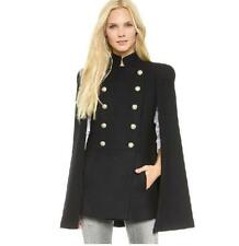 Autumn Womens Double Breated Military Wool Blend Cape Pea Coats Jacket Overcoat