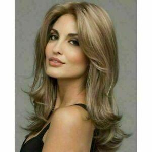 100% Human Hair New Fashion Beautiful Long Natural Brown Wavy Women's Full Wigs