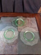 3 Cambridge Floral Etched Green 10 sided Footed Snack/Salad Plates Signed