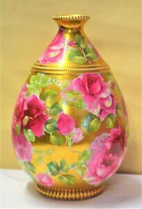 Thomas Forester T F & Sons Ltd Gilt Relief Vase Pink Golden Roses Art Nouveau