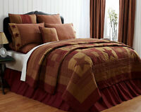 Farmhouse NINEPATCH QUEEN QUILT Country Primitive Rustic Reversible Burgundy Tan