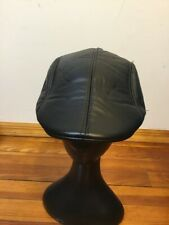 Newsboy Driving Black Faux Leather Flat Cap Men's Size 59