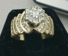 14k Yellow Gold Round Brilliant Diamond Cluster Large Cocktail Ring 1 1/2 ctdw