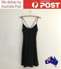 CUTE BLACK SKATER DRESS - TIE UP BACK DETAIL - FACTORIE SIZE S, FREE POST (NEW)