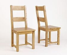 Pair of Whittingham Reclaimed Oak Timber Wooden Dining Chairs Furniture