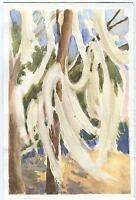VINTAGE ABSTRACT TREES LANDSCAPE YORK MAINE LISTED ARTIST W/C STUDY PAINTING