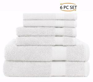 100% Cotton Face Hand Bath 6 Piece Bathroom Towel Set New Daily Use Sweet Needle