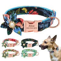 Nylon Floral Dog Personalized Collar with Heavy Duty Custom Engraved Name Plate