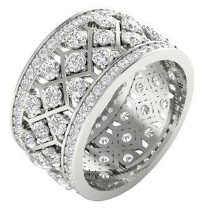 Eternity Wedding Ring SI1 G 3.50 Ct Round Diamond 14K Solid White Gold Appraisal