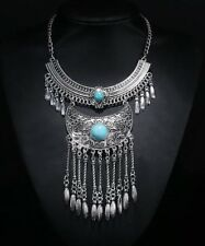 Bohemian Statement Womens Necklace Large Boho Feather Turquoise Gems