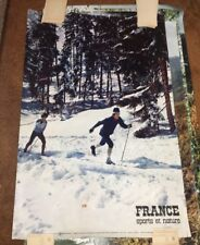 4 Vintage French Posters France sports et nature Skiing Fishing Hiking Cycling