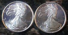 Fine Silver (.999)  Eagle Liberty Design TWO 1/10 Oz Rounds  *BU*