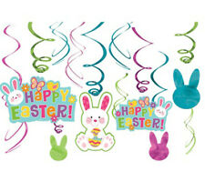 Happy Easter Hanging Swirl Decorations Party Supplies Danglers Bunny ~ 12 ct