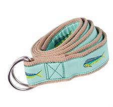 MOONSHINE Dolphin Mahi Mahi Canvas Ribbon Embroidered D-Ring Belt with DEFECT LG