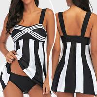 US Women Swimdress Two Piece Swimwear Swimsuit Beachwear Backless Push Up Padded