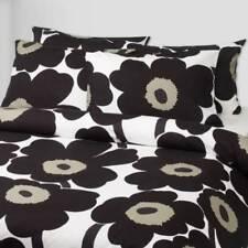 Rare Black/Tan Marimekko Unikko Cotton Full Queen Duvet Cover Sham Set