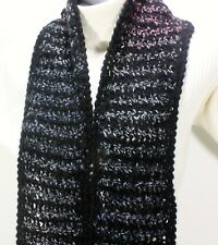 MEO CROCHET UNISEX SCARF 84 X 6.5 NAVY BLUE & MULTICOLOR HOUNDSTOOTH  WOOL KNIT