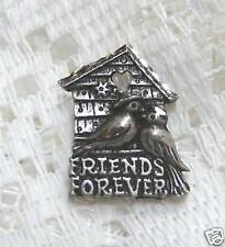 NEW Pewter Pair of Birds & Birdhouse Tie Tack Pin, Lovely Pewter Bird Pin