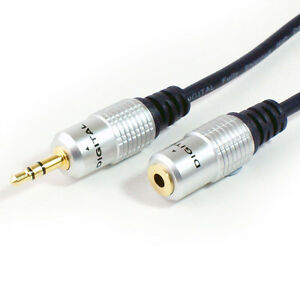 GOLD 5m 3.5mm Jack Plug to Female Stereo Cable Headphone Extension Audio Lead