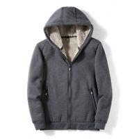 Herren Übergröße Mantel Winter Warm Fleece Hoodie Zip Up Jacke Sherpa Outwear