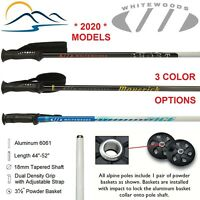 2020 Whitewoods Aluminum Downhill Ski Poles Sizes 18mm Tapered 44 - 52 Inches