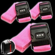 3 Koffergurte mit Zahlenschloss ROSA Gepäckgurt Security Gepäckband Kofferriemen