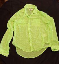 Women Hollister Green Sheer Long Sleeve Size Small EUC