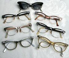 Lot of 7 Vintage 50's 60's Ladies Plastic/ Aluminum/ 1/10 12Kgf Cat Eye Glasses