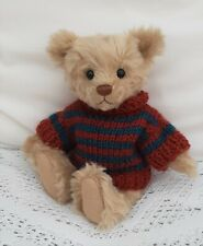 """**BEAR KNITS** Hand Knitted 2 colour striped  jumper to fit approx.8""""  bear"""