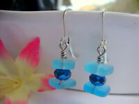 Stacked Caribbean Blue SEA GLASS Square Crystal Silver Dangle Earrings Beach