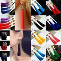 Women Fashion Hollow Flower Drop Long Tassel Rhinestone Earrings Ear Stud Dangle