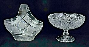 Vintage Queen Lace Bohemian Crystal Sm. Basket & Ftd. Compote