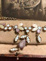 Vintage Statement Necklace Gold Tone Pascal Enamel Shades with  Diamanté