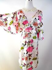 H&M Designer Women's Satin Party Colourful Summer Evening Floral Midi Dress BF6