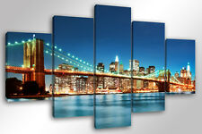 Quadro Moderno 5 pz. NEW YORK CITY SKYLINE 5 pz. cm 150x90 arredamento tela