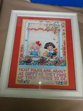 """Mary Engelbreit Lincoln Quote Most Folks Are About As Happy Framed24"""" x 20"""" Euc"""
