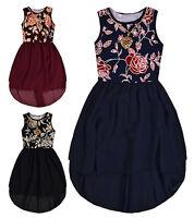 Girls Sleeveless Party Dress New Kids Chiffon Skirt Floral Top Dresses 4-14 Yrs