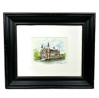 Sacred Heart Augusta GA Print Drawing Painting Vintage Signed Matted Framed 13″