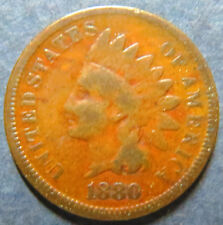 1880  INDIAN HEAD BRONZE CENT, Circulated Nice Details Philadelphia Mint Coin#3