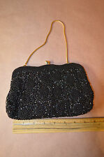 Black Beaded Evening Bag Purse Sequins Handbag Vtg Hong Kong