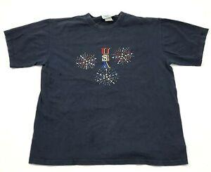 VINTAGE USA America Shirt Size Medium Blue Short Sleeve Embroidered Rhinestones