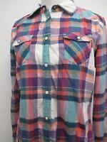 AE American Eagle blue plaid pearl button snap western shirt sz M womens LS#7019